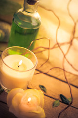 Body lotion aromatic candles session spa