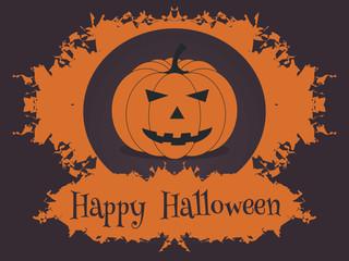 Classic Halloween pumpkin in the orange frame.