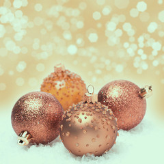 Christmas balls and background with bokeh
