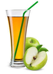 Glass of apple juice with fruit isolated on white.