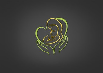 baby care logo, abstract business parenting design icon Vector