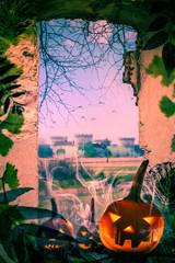 Halloween project pumpkins old ruins View window castle