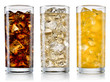 Leinwandbild Motiv Glass of cola, fanta, sprite with ice cubes isolated on white. W