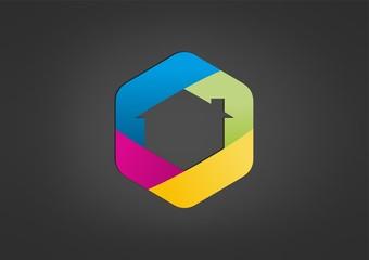 pentagon  home business colourful logo Vector