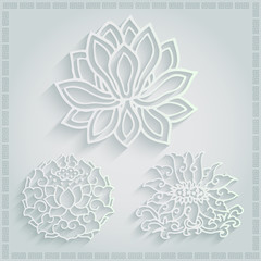 set of 3d oriental decorate element,chinese pattern