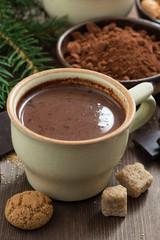 hot chocolate in a ceramic cup and amaretti cookies