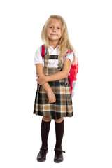 young blonde hair schoolgirl in uniform carrying backpack