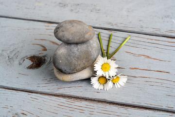 Zen stenen  met bloemen op oud hout.