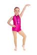 Jazz Dancer Girl in Pink on White Background