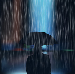 A man with an umbrella during a storm