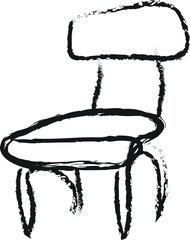 doodle charcoal wooden chair