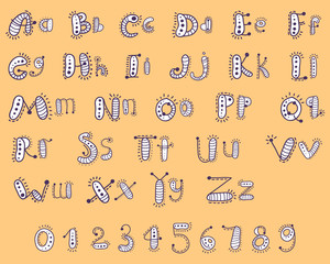 Cartoon alphabet with numbers for children