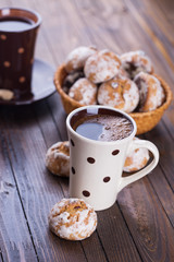 Cup of aromatic coffee  and cookies