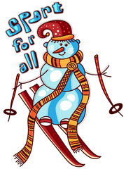 Snowman skiing in the red cap and a long scarf