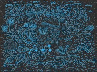 Pattern, underwater world, blue outline on a dark