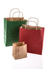 paper shopping bags on white