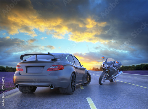 sport car and motorbike - 70860876