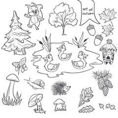 autumn animals, trees, mushrooms, leaves