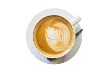 latte coffee on isolate white with clipping path.