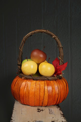 Apples in Basket, Fall or Thanksgiving Theme