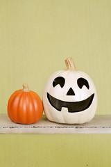 Halloween Pumpkins on Rustic Wood Bench