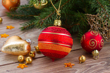 red and orange  christmas  ball decoration