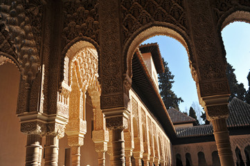 Alhambra Palace in Granada, Islamic decoration, Andalusia, Spain
