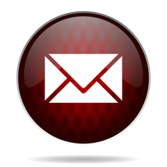 email red glossy web icon on white background.