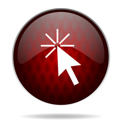 click here red glossy web icon on white background.
