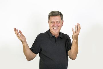 laughing and smiling senior man