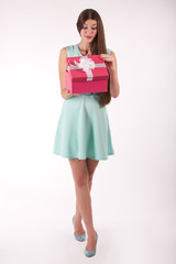 Girl is open box with gift