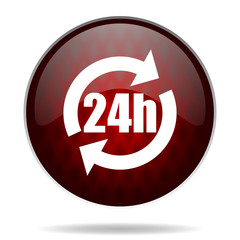 24h red glossy web icon on white background.