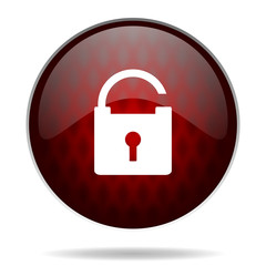 padlock red glossy web icon on white background.