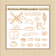 Vector set of icons with bakery products