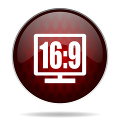 16 9 display red glossy web icon on white background.