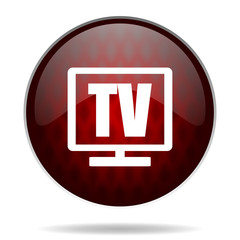 tv red glossy web icon on white background.
