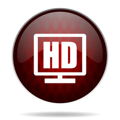 hd display red glossy web icon on white background.