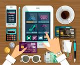Shopping in online store. Internet shopping. vector illustration