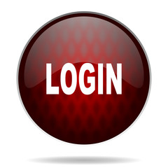 login red glossy web icon on white background.