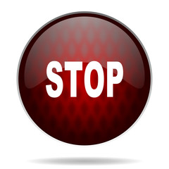 stop red glossy web icon on white background.