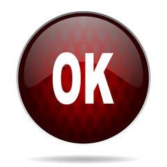 .ok red glossy web icon on white background.