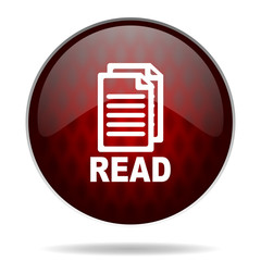 read red glossy web icon on white background.