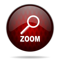 .zoom red glossy web icon on white background.