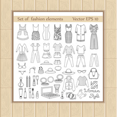 Vector set with fashion elements