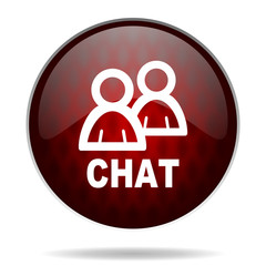 chat red glossy web icon on white background.