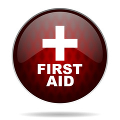 first aid red glossy web icon on white background.