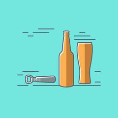 beer glass bottle flat design background