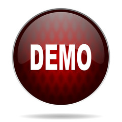 demo red glossy web icon on white background.