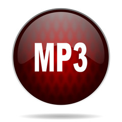 mp3 red glossy web icon on white background.