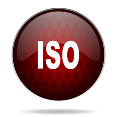 iso red glossy web icon on white background.